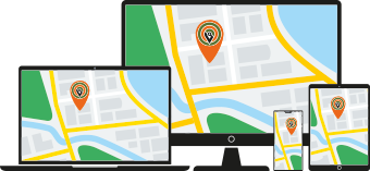 GPS tracking shown on screen, laptop and mobile devices
